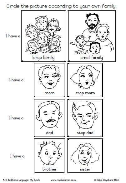 FAL Grade 1 Term 1&2: Worksheets » My Klaskamer deur Kobie Kleynhans