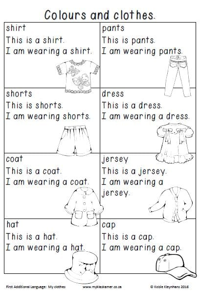 Worksheets English First Additional Language Grade 1 Term 1&2