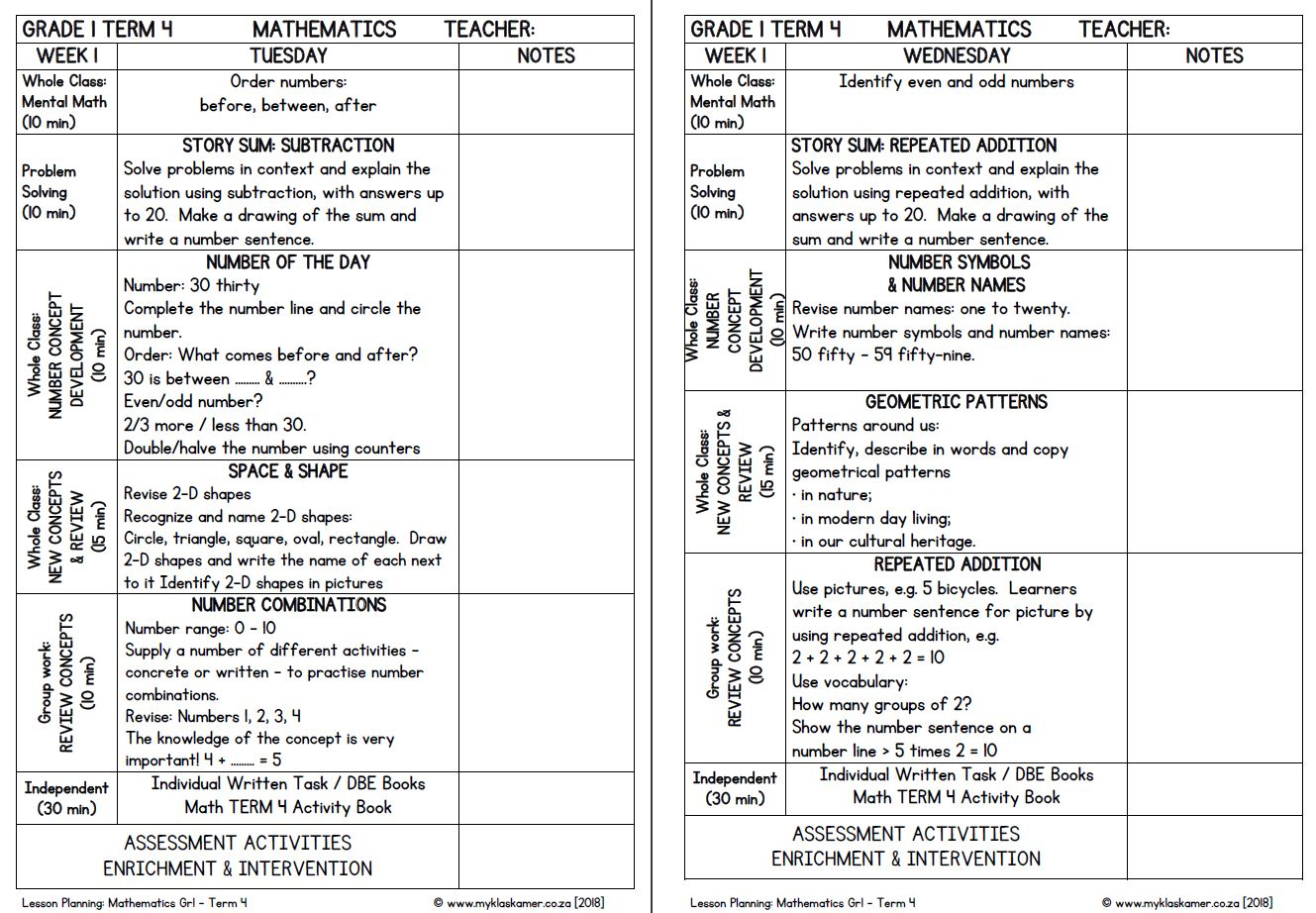 Lesson Planning Mathematics Grade 1 Term 4