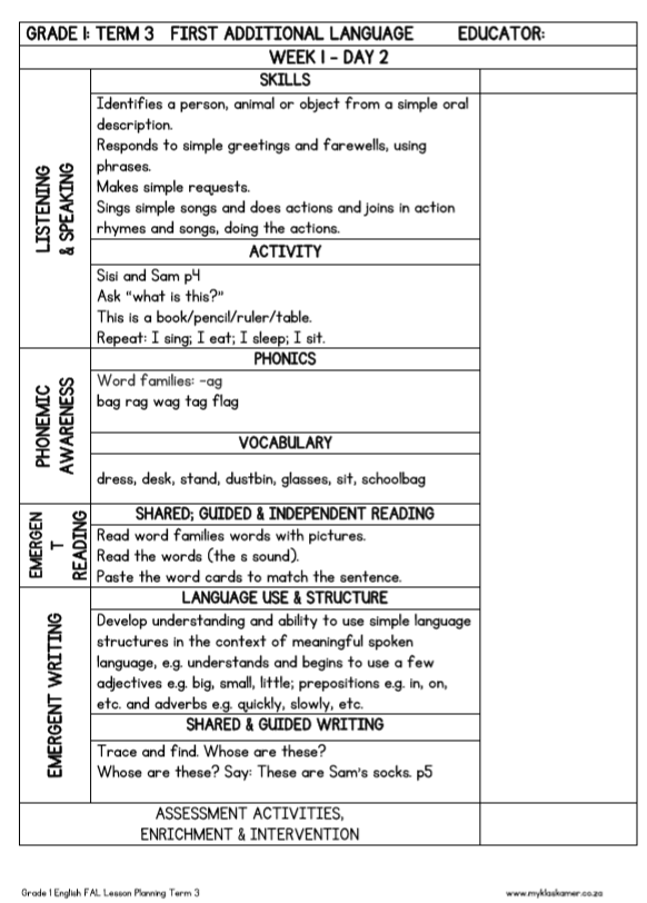 English In Italian: Lesson Planning English First Additional Language Grade 1